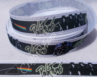 "Pink Floyd Rock Band 7/8"" Grosgrain Ribbon by the yard. Choose 3/5/10 yards. Rock and Roll Music The Dark Side of the Moon Prism Image."