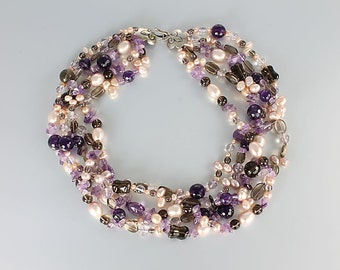 Pearl Amethyst Torsade, Smoky Pink Quartz Sterling Clasp Fleur de Lis Short necklace