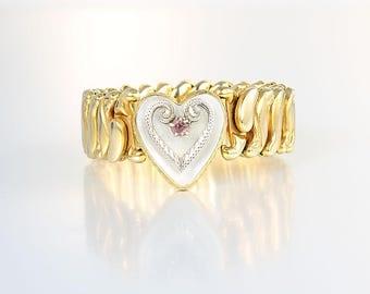 Sweetheart Bracelet, Mother of Pearl Sterling Heart expansion Bracelet, wwii 1940s jewelry