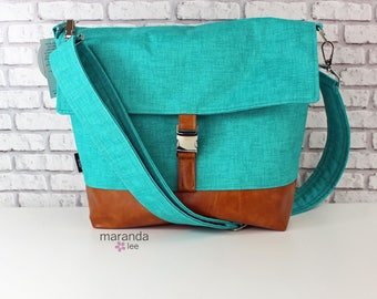 Lulu Large Flap Messenger Satchel  - Teal Denim and PU Leather Travel Business Nappy Bag Stroller Attachment