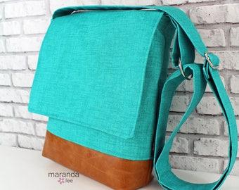 Nori Medium Flap Messenger Slouch Bag with Adjustable Cross Body Bag - Teal Denim - iPad Bag  READY to SHIP