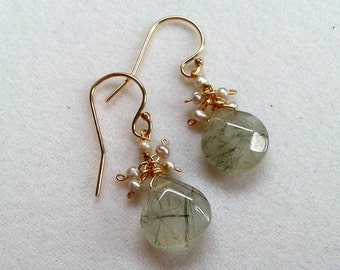 Green Rutilated Quartz Drop Earrings with Freshwater Pearl Cluster - Gold Filled - OOAK