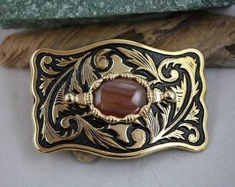 Brazilian Agate Gold Western Belt Buckle - Item 1829