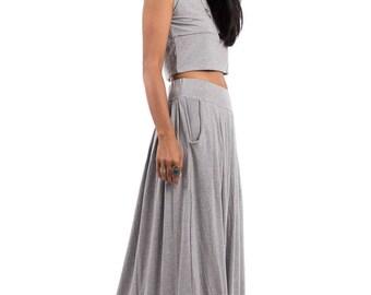 Grey Skirt, grey maxi skirt, long grey skirt, pleated skirt, high waist skirt, maxi skirt : Urban Chic Collection No.2