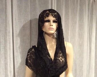 Vintage Black  Silk Lace Mourning  Scarf / Shawl, Vintage Lace, Vintage Silk, Vintage Scarf, Antique Lace, Antique Mourning