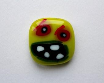 Monster Stylised Lime Green Fridge Magnet  fused glassFun Retro Note holder Gift for him or her