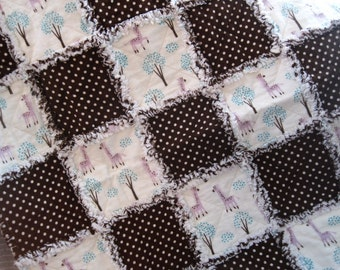 Brown Polka Dots and Pink Giraffes. Flannel Baby Rag Quilt. Fluffy Edge Baby Blanket. Baby Quilt. Car Seat Quilt. Stroller Quilt