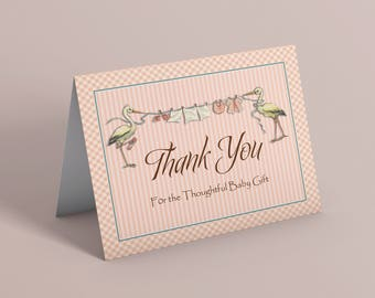 BABY THANK YOU card, Retro thank you, Digital thank you, Baby Boy, Baby Shower thank you card, Boy Baby Shower, Stork thank you 1032