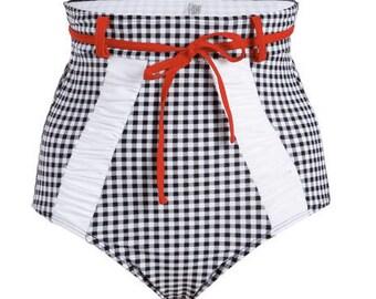 50s Retro Plaid High Waist Bikini Bottom
