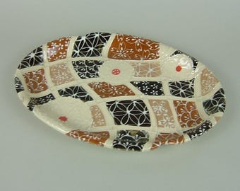 Brown Oval Serving Plate / Bread Tray / Benty Tray / Slip Design / Mozaic Pattern / Japanese Pattern