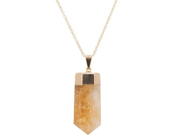 Citrine Point Necklace, Solar Plexus Chakra Stone, Chakra Necklace, Citrine Gemstone Point, Electroplated Stone, Gifts for Women, #6349-yg