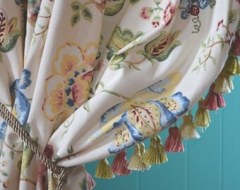"""Ivory Floral Curtains, Tassel Trimmed, Extra Long and Wide, 34""""w. Pinch Pleat Top x 76""""w. Bot. x 90""""l."""