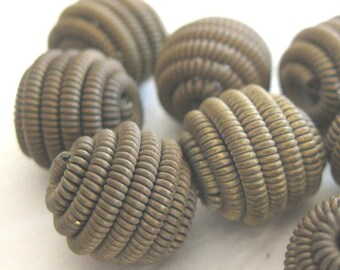 Vintage Metal Antique Coil Beads  E210B