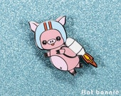 Pig enamel pin pig, Kawaii pig jacket pin hard enamel brooch, Cute backpack pin pig, Space rocket jetpack flying pig gift, Flat Bonnie