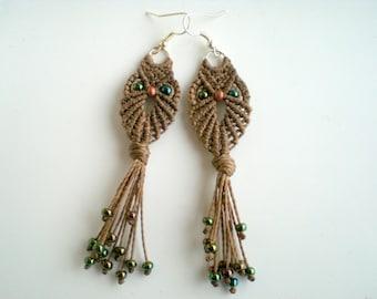 Macrame owl. Macrame earrings. Handmade. Gypsy. Tribal. Fiber art. Women jewellery.