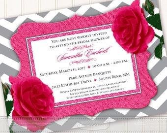 wedding invitation, fuchsia wedding invitation, fuchsia bridal shower invitation, hot pink chevron wedding invitation, fuchsia shower, IN540