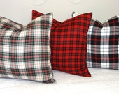 Fall is HERE! Plaid is IN! Flannel Plaid Pillow Covers 18x18 Red Black White Green Soft Cozy Pillow Covers