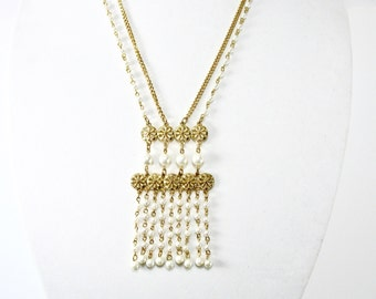 1960's Pearl Bib Necklace, Double Chain, Pearl Dangles, Long Chain, Gold Tone, Statement Piece, Wedding, Bride, Gift Idea, Excellent