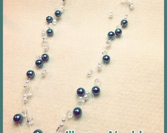 Floating Glass Pearl & Crystal Multistrand Illusion Necklace
