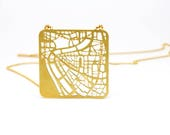 Rome Map Necklace Gold or Silver - Minimalist Geometric Map Necklace, Rome Necklace, Graphic Geometric Jewelry, Holiday Gift for her