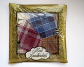 Vintage Mens Handkerchiefs - Set of 3 - New in Package - Blue Rust Brown Stripes Checks Hankies - Fathers Day Gift - Large Cotton Hanky