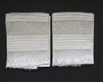 White Victorian Antique Linen Pillowcases - Pair Handmade Long Pillowcases - Exquiste Hand Tatted Tucks Lace Hems - Shabby Chic 1940s