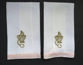 Vintage Embroidered Hand Towels - Pair Gold Toned Perfume Bottles Atomizers - Linen Show Towels - Powder Room Decor - Finger Tip Towel  Gift