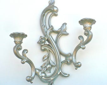 ORNATE Brushed Nickel Double Wall Sconce Candle Holder Vintage Modern Luxe Metallic Shiny Wall Decor