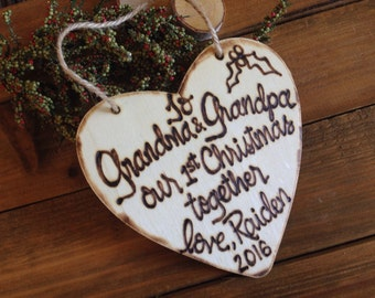 Christmas ornament Grandma and Grandpa's First Christmas love the new Baby Personalized Rustic Heart Holiday Gift Idea Grandparents