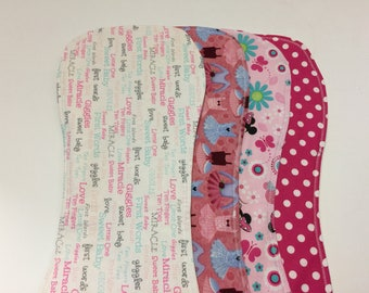 Baby Girls Pink Burp Cloths YOUR CHOICE- Minnie Mouse, Pink Polka Dot, Ballet, Baby Sayings- Giggles, Sweet Baby, Little One, Love