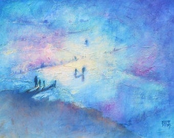 """NEW COLLECTION """"Blue Sand"""" 16"""" X 12"""" Framed Oil Painting. Impressionist Seaside Art. Shipping Included."""