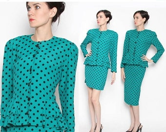 ON SALE Vintage 80s Teal Black Polka Dot 2 Piece Peplum Suit / Rockabilly / Working girl / M