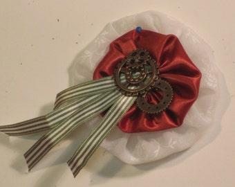 Steam punk Fabric pin/brooch