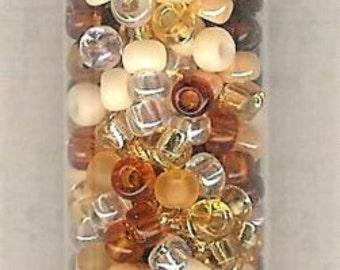 8/0 Miyuki Seed Bead Wheat Berry Blend-22 gram/5 inch tube, Japanese Topaz Seed Bead, 8/0 Seed Bead, 3mm Glass Bead, Matte 8/0 Seed Bead