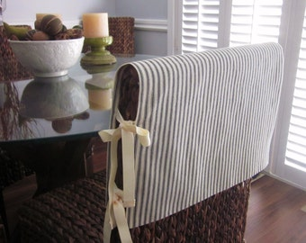 Chair Back Slipcover or Cap, For Square Back or Parsons Chairs, Made to Order