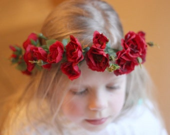 Tie Back Floral crown, Girls Crown, Fairy floral crown, Red Roses Wreath