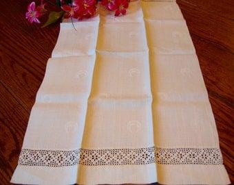 White Damask Towel Linen Towel Crochet Trim Show Towels Antique Guest Towels