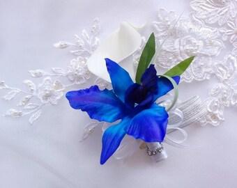 Wedding Blue Purple Singapore Galaxy Dendrobium Orchid and Calla Lily  Corsage - Silk wedding Corsage