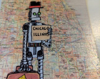 "Excellent ""Onward To Adventure"" Magnet Chicago Illinois Robot"