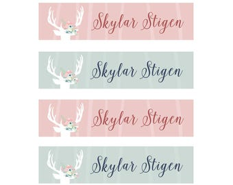 FAST SHIPPING! Fabric Name Labels, Clothing Name Labels, Clothing Name Tags, Iron-On, School Labels, Daycare, Camp, Girl, Floral Antlers