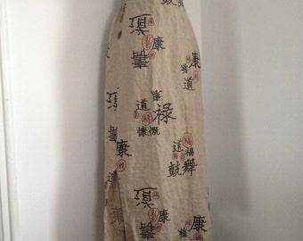 Linen  Skirt /  Asian Print