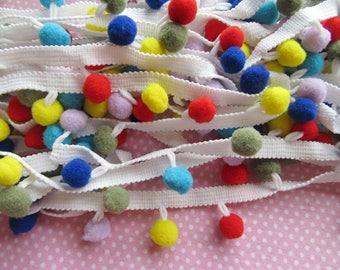 "5y 1/2"" Pom Pom Trim Pom Pom Ball fringe Trim Ribbon Sewing-Colorful F"