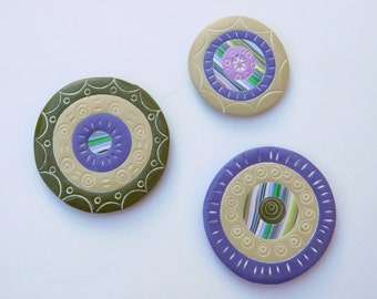 Polymer Clay Magnets, Refrigerator Magnets, purple and green