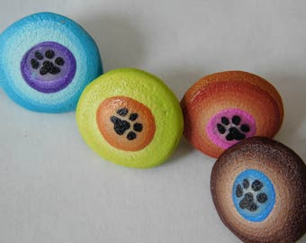 Colorful Polymer Clay Paw Print Thumbtacks, push pins