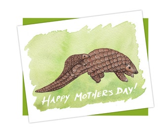 Happy Mother's Day Pangolin with Baby Card / Mother's Day Card / Blank Inside / Wildlife Art / Greeting Card