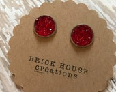 Cherry Red Druzy earrings