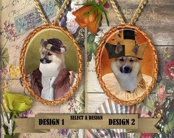 Icelandic Sheepdog Jewelry. Icelandic Sheepdog Pendant or Brooch. Icelandic Sheepdog Necklace. Icelandic Sheepdog Portrait.