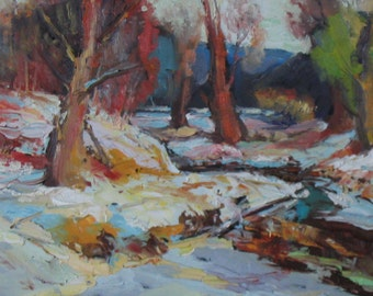 Snow Glow, Impressionism, Palette Knife Painting, Listed Artist P.Seitz