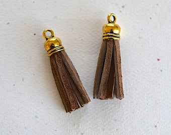 Brown Suede Mini Tassel W/Rounded Antiqued Silver Cap - 35mm - Handmade - 2 Pieces