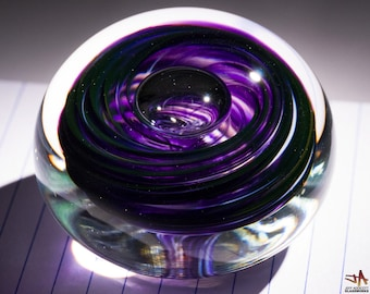 Hand Blown Glass Paperweight - White and Hyacinth Purple Swirls